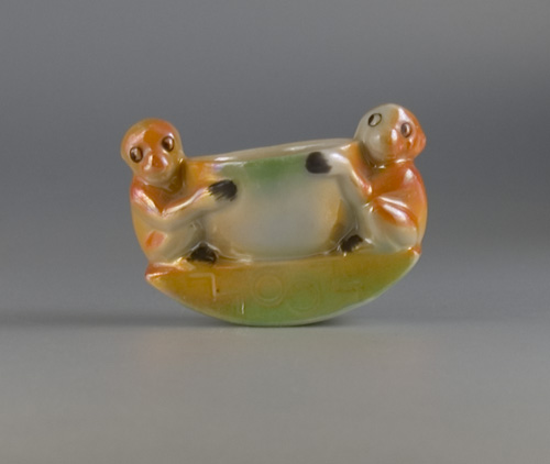 1930s Rocking Egg Cup modelled as a Pair of Monkeys (Sold)