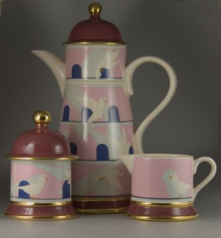 Carlton Ware Lustre Pottery Dovecote Coffee Set - (Sold)