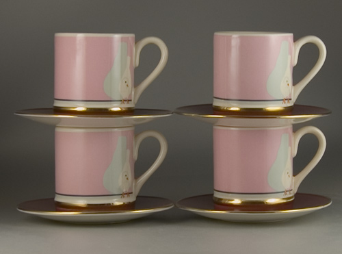 A Set of 4 Carlton Ware Dovecote Cups and Saucers (Sold)