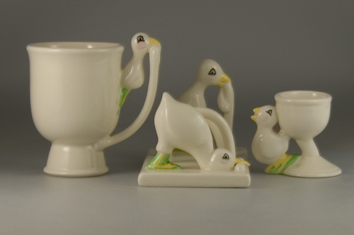 Carlton Ware Chick and Worm Breakfast Set