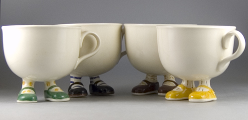 Early Set of Moulded Lustre Pottery Walking Ware Cups - (Sold)