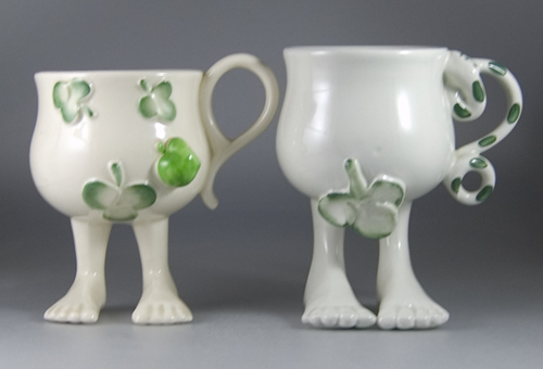 A Pair of Carlton Ware Walking Ware Adam and Eve Cups - (Sold)