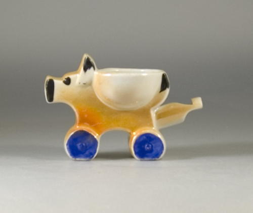 1920s Scarce Whistle Egg Cup Modelled as a Stylised Dog (Sold)