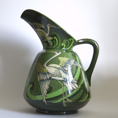 Large Wileman & Co. Intarsio Vase designed by Frederick Rhead