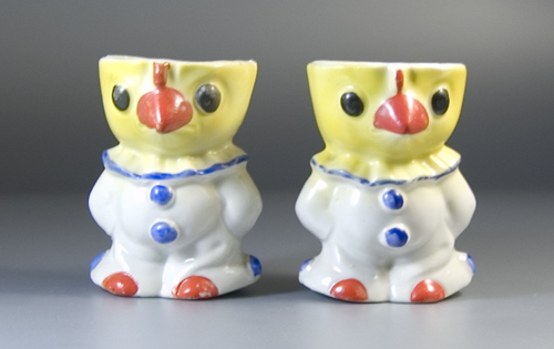 Pair of '30s Rocking Eggcups formed as Chicks dressed as Clowns