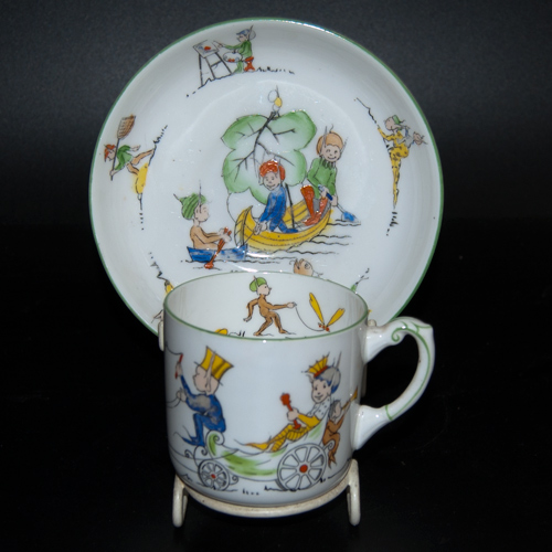 "Paragon China ""Pixie Playtime"" cup and saucer by J. A. Robinson"