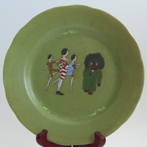 Plate with an illustration from 'The Golliwogg's Auto-go-cart'
