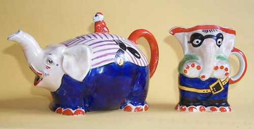 Royal Venton Ware Elephant Tea Pot and Milk Jug - (Sold)
